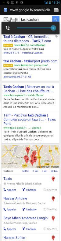 Je cherche un taxi sur mon téléphone